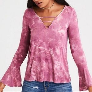 AEO Soft & Sexy Long Sleeve Tie Dye Pink Small